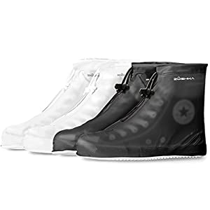 Premium Reusable Boot & Shoe Waterproof Covers , Slip-resistant | Durable , Water Resistant | Adjustable Zippered Over Shoes Slip Protector for Men and Women SMLXLXXL (XL: 11.10 inch, Black)