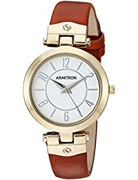 Women's 75/5338WTGPBN Gold-Tone and Luggage Brown Leather Strap Watch