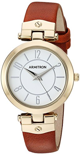 Armitron Women's 75/5338WTGPBN Gold-Tone and Luggage Brown Leather Strap Watch