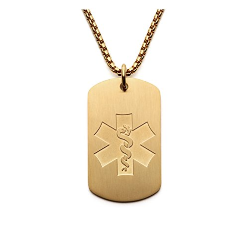 BAIYI Medical Alert ID Necklace Stainless Steel Dog Tag Pendant Gold for Men Chain 24 inch (Free Engraving) ()