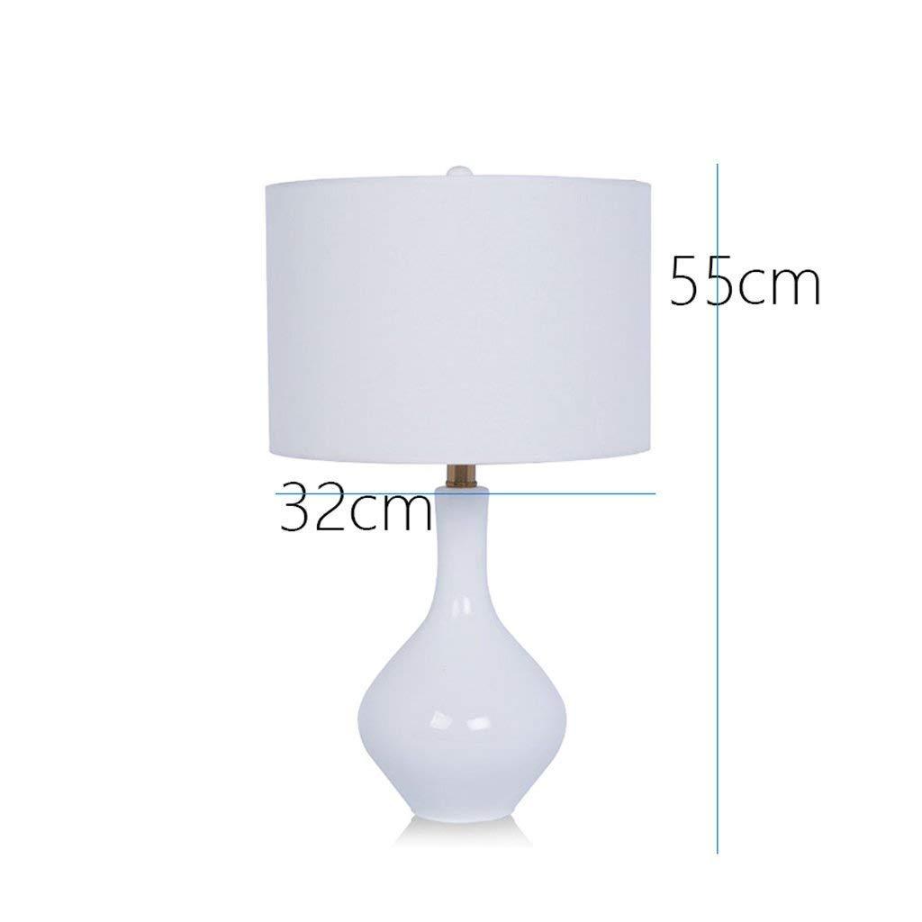 AME Tischlampe American Pastoralen Stil Keramik Tischlampe Schlafzimmer Nacht Studie, warme Wohnzimmer Lichter, weiß, H55Cm  W32Cm