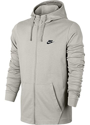 Nike Men's Sportswear Full Zip Hooded Long Sleeve Top - Light Bone/Black - 861754-072 (X-Large)