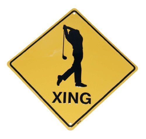 Golfer Golf Crossing Xing Metal Tin Funny Road Sign
