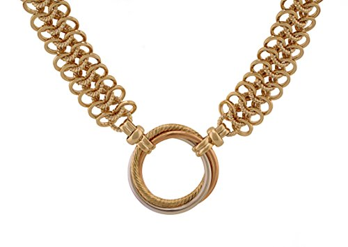 Regaly Jeweled Chunky Gold Plated Brass Link Necklace - Tri Color Triple Round Circles Pendant