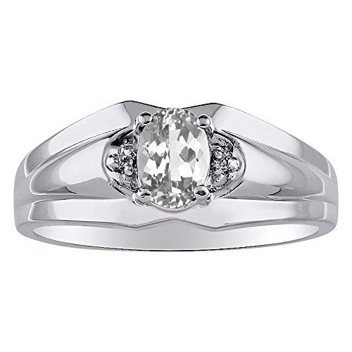 Diamond & White Topaz Ring 14K Yellow or 14K White Gold