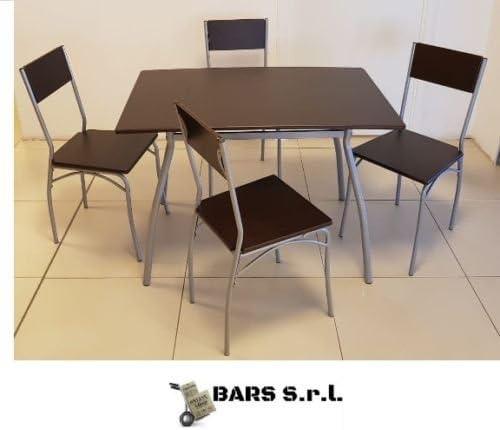 Bars Easyshop Oferta Set Mesa y 4 sillas de jardín Madera terraza balcón Exterior Interior: Amazon.es: Jardín