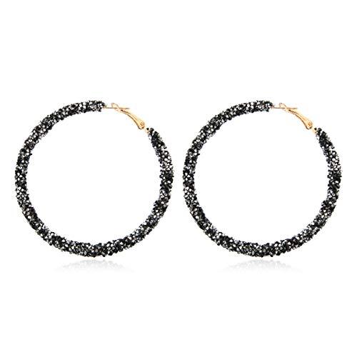Disc Glitter - RIAH FASHION Glitter Rhinestone Statement Drop Earrings - Sparkly Crystal Geometric Metal Hook Dangles Vertical Bar, Elongated Teardrop, Shield Disc (Sparkly Crystal Hoop - Black Silver)
