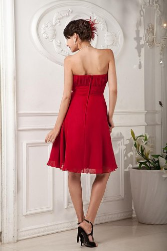 Cocktail fuer traegerlosen Rot GEORGE BRIDE Chiffon Abendkleid Rot wnAgvqY6