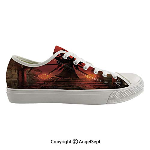Durable Anti-Slip Sole Washable Canvas Shoes 17.32inch Barbarian Evil Demonic Character Fictional Video Game Person Scary Artsy Graphic,Red Flexible and Soft Nice Gift (Best Shoes For Flat Footed Person)