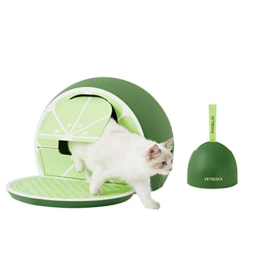 VETRESKA Cat Litter Box Sifting Litter Box with Scoop Covered Cat Litter Box with Lid Set Fruit Style, Green Lemon