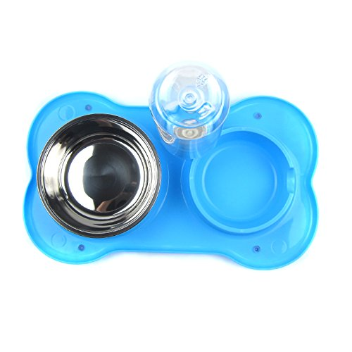 Alfie Pet by Petoga Couture - Dustin Pet Food Bowl and Water Dispensor with Skidstop Silicone Mat - Color: Blue by Alfie (Image #4)