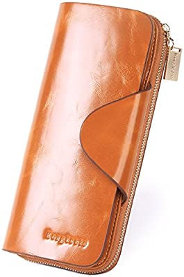 Borgasets RFID Blocking Women's Clutch Wallet Large Capacity Wax Genuine Leather Card Holder Purse