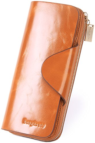 Brown Leather Womens Bank (Borgasets Women's Wallet Trifold Ladies Luxury Leather Clutch Travel Purse with Zipper Pocket)
