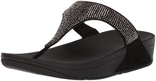 FitFlop Women's Slinky Rokkit Toe-Post Sandal, Black, 5 M US -