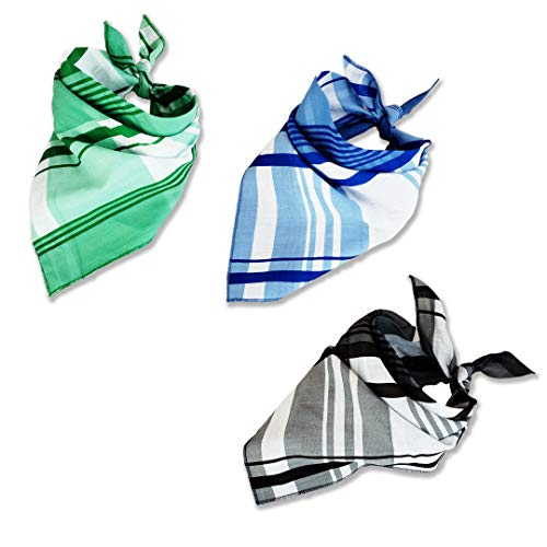Thome Dog Bandanas - 3 Pcs in Pack Lightweight, Bright Colored, Washable Bibs - Plaid Triangle Dog Scarfs for Small to Medium Sized Dogs, Cats, and Pets - Cute Puppy and Pet Bandana Kerchief