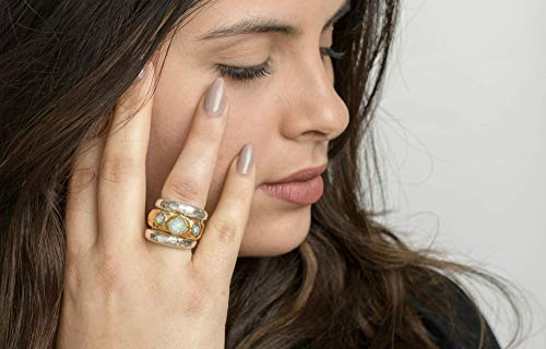 - Handmade Sterling Silver and 24K Gold Plated Unique Ring for Women, Statement Chunky Multistone Band, Bold & Wide Sculptured Band inlaid with Semi Precious Stones Swarovski & Green Prehnite, Size US 9