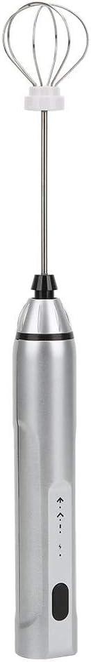 Mini caf/é port/átil Espumador de leche Batidora el/éctrica Batidor de huevos Batidora de caf/é Carga USB Zerone Espumador de leche Plata