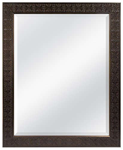 Two Beveled Glass Doors (MCS 22x28 Inch Stamped Medallion Mirror, 28x34 Inch Overall Size, Bronze (47697))