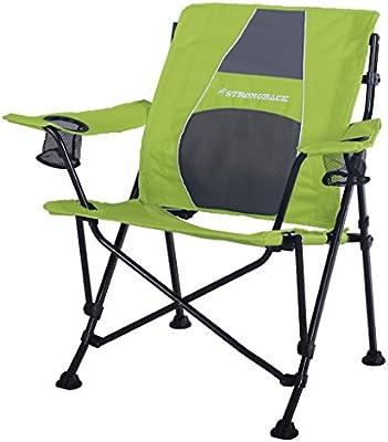 STRONGBACK Guru Folding Camp Chair with Lumbar Support Black /& Grey