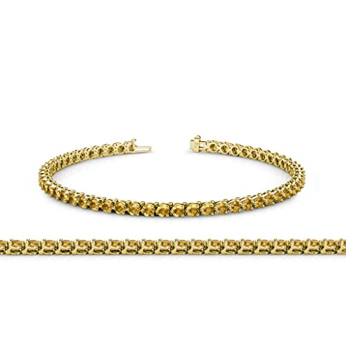 Citrine 2.8mm 3-Prong Tennis Bracelet 3.68 ct tw in 14K Yellow Gold
