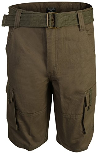 Quad Seven Boys Brushed Twill Cargo Belted Shorts, Olive, Size 8' - Belted Cargo Trousers
