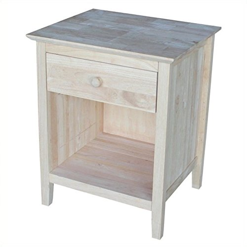 International Concepts Nightstand with 1 Drawer, Unfinished by International Concepts