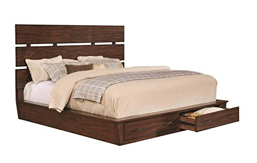Artesia Queen Platform Bed with Storage Footboard Dark Cocoa - Set includes: One (1) bed Materials: Poplar wood, mindy veneer, MDF and plywood Finish Color: Dark cocoa - bedroom-furniture, bedroom, bed-frames - 41ASoM3sn8L -