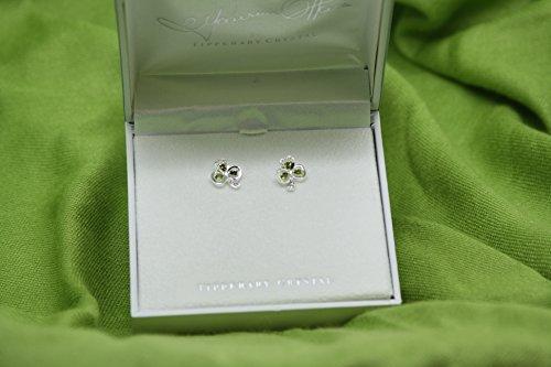 (Maureen O'Hara Irish Jewelry Silver Plated Shamrock Stud Earrings By Tipperary Crystal)