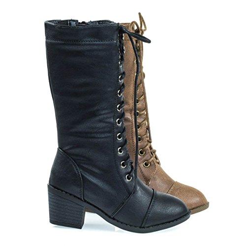 Kid's Military Combat Boots W Chunky Block Heel, Lace UP & Zipper Closure