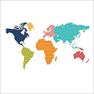 Dooxoo world map wall decal world map vinyl for Dry erase world map wall mural