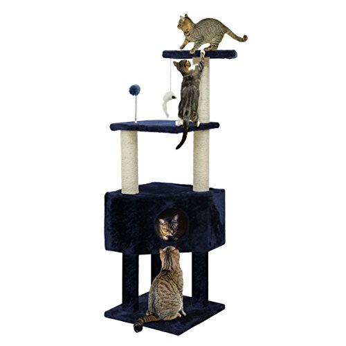 - Furhaven Tiger Tough Cat Tree House Furniture for Cats and Kittens, Clubhouse Playground, Blue