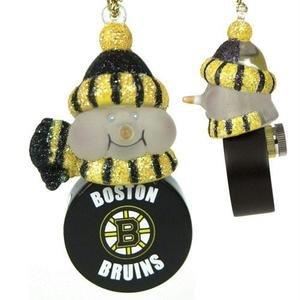 SC Sports Boston Bruins Light-Up Snowman Puck Ornament 3-Pack - Boston Bruins Set of 3