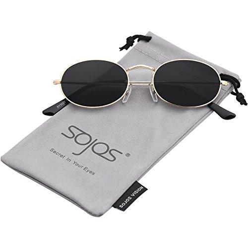 SOJOS Vintage Slender Oval Sunglasses Small Metal Frame Candy Colors SJ1087 with Gold Frame/Grey Lens ()
