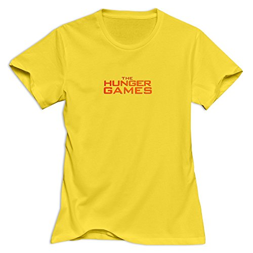 the-hunger-games-logo-retro-casual-yellow-t-shirt-for-women-size-m