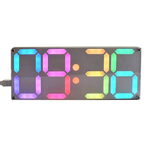 (Large Rainbow Color Digital Tube DS3231 Clock DIY Kit with Customizable Colors)