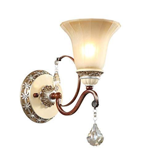 NJ Wall lamp- Wall lamp, TV Wall lamp, Creative Crystal Bedroom Bedside lamp, Stairway Aisle Wrought Iron Retro lamp (Color : Brown, Size : -