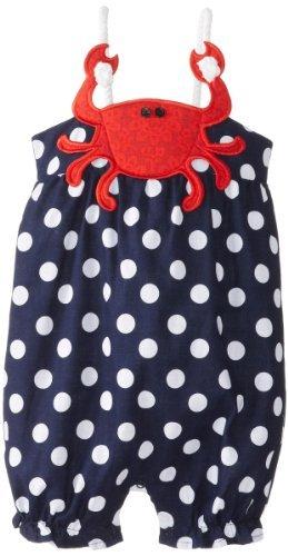 Mud Pie Baby-Girls infantil cangrejo Pelele de lunares, azul/rojo, 12