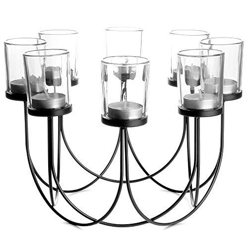 Porta te de cristal | Candelero | Decoraciones de mesa de comedor | Centro de mesa de decoracion de la boda | Accesorios para el hogar vintage | M&W (Negro)