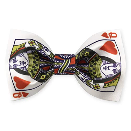 100% Silk Satin Poker Suit Playing Cards Bowties Pre-tied Adjustable Bow Tie for Men (Heart Queen) ()