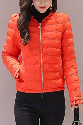 Abbigliamento Colore Volant Trapuntata Manica Piumini Casual Donna Arancia Autunno A Chiusura Puro Vintage Cerniera Tasche Invernali Giacche Cappotto Coat Lunga Giacca Fashion Con 8Xq7vX