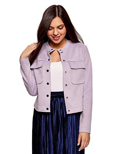oodji Ultra Women's Faux Suede Jacket with Patch Pockets, Purple, 2