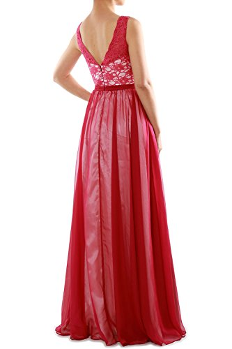 MACloth Women Two Tone V Neck Lace Long Bridesmaid Dress Evening Formal Gown Rojo