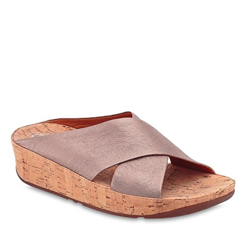 FitFlop Women's Kys Leather Slide Sandals Bronze 10