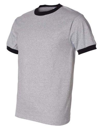 Anvil 923 Cotton Ringer T-Shirt - Heather Dark Grey/Black - S - 923 Heather