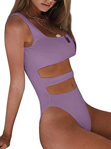 BEAGIMEG Women's Tank Top Cut Out Sleeveless Bodice Bodysuit Party Clubwear Lavender (Tank Top And Thong)