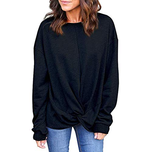 DOIuye Women Sweatshirt Knot Front Casual Solid Pullover Round Neck Long Sleeve Loose Solid Basic Blouse T-Shirt Black