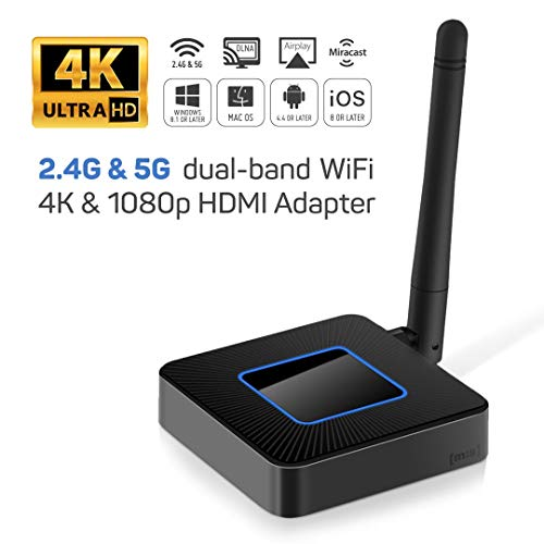 [mis] 2nd Generation 5G & 2.4G Dual Band WiFi Cordless 4K Ultra HD HDMI Dongle Adapter for Cell Phone, Tablet and Notebook Computer. Mac OS/iOS/Android/Windows. Support AirPlay, Miracast and DLNA