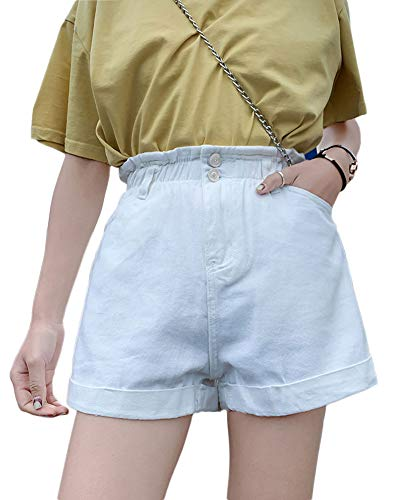 (Plaid&Plain Women's High Waisted Denim Shorts Rolled Blue Jean Shorts White L)