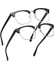 MEETSUN Blue Light Blocking Glasses Men Women,Semi-Rimless Anti Eyestrain Filter Blue Ray UV400 Clear Lens Computer Eyewear