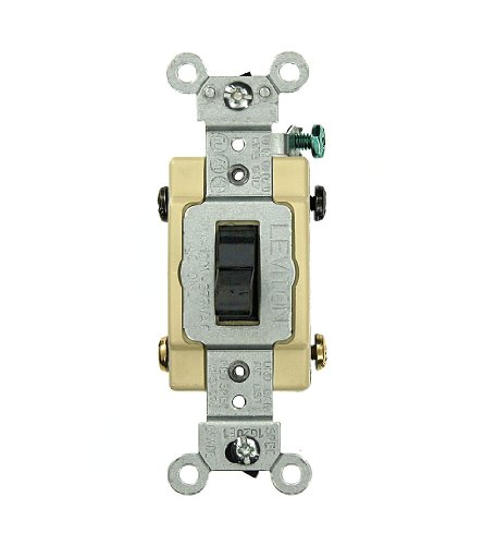 Leviton CS420-2E 20 Amp, 120/277 Volt, Toggle 4-Way AC Quiet Switch, Commercial Grade, Grounding, Black ()